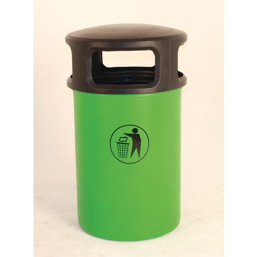 Outdoor Hooded Plastic Litterbin Green