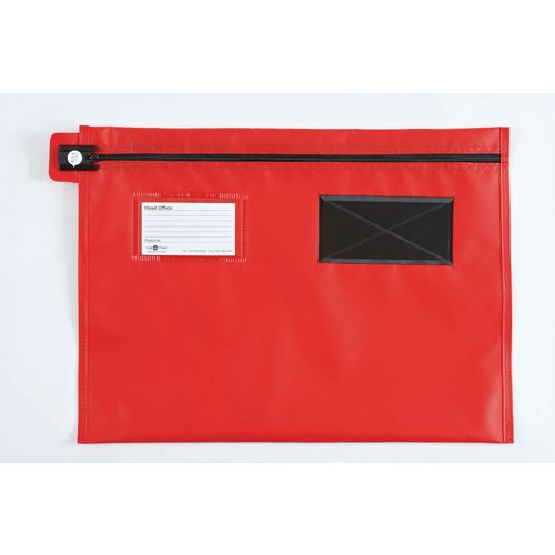 Long Zip Flat Pouch Red 406x305mm