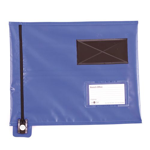 Short Zip Flat Pouch Blue 336x286mm