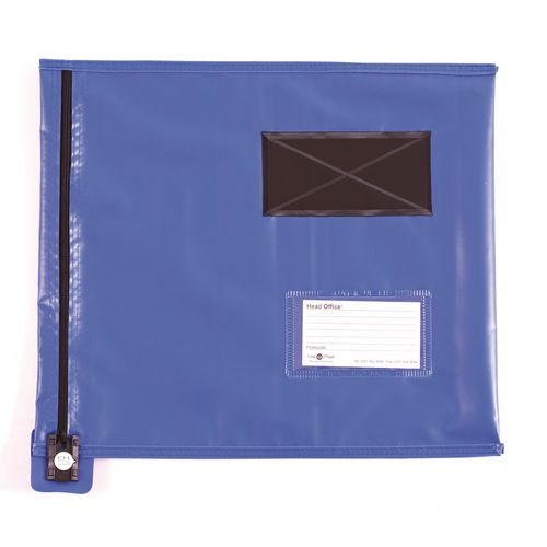 Short Zip Flat Pouch Blue 381x355mm
