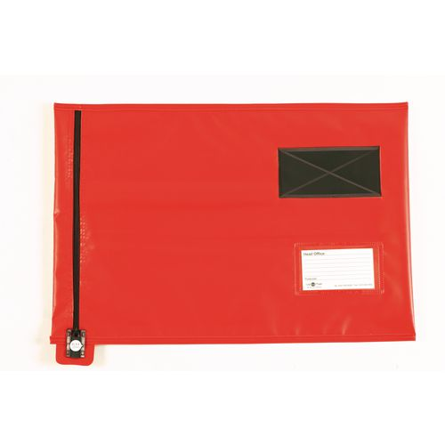 Short Zip Flat Pouch Red 381x355mm