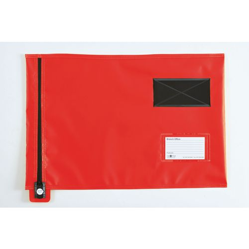 Short Zip Flat Pouch Red 470x355mm