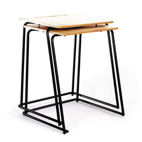 Set Of 4xExam Table Stacking  Beech Top/Black Leg