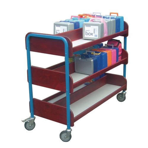 Large Double Sided Lunchbox Trolley Red Frame/Green Shelves
