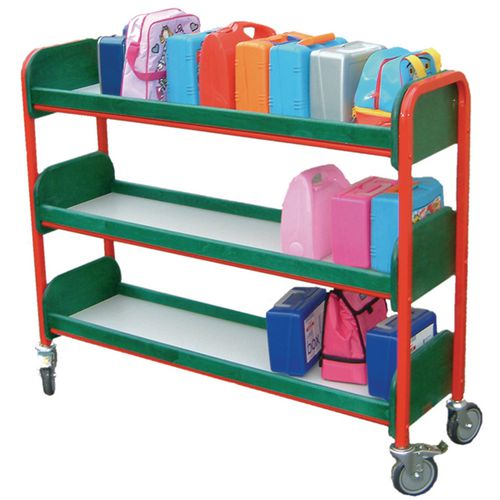 Large Single Sided Lunchbox Trolley Green Frame/Red Shelves