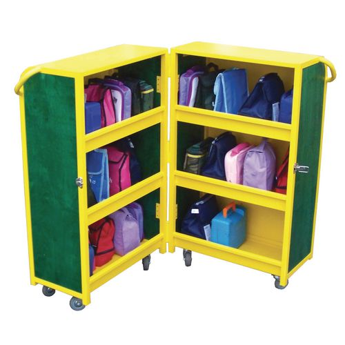 Lockable Lunchbox Trolley Yellow/Red Panel