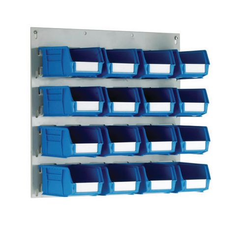 Wall Mounted Louvre Panel 450mm (H)x500mm (W) With 16 Size 2 Blue Bins
