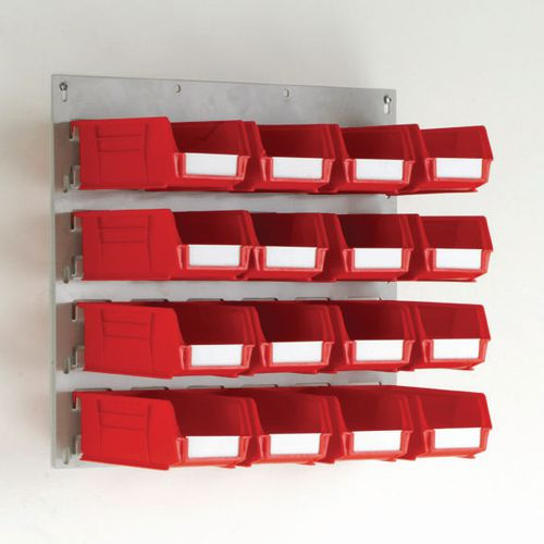 Wall Mounted Louvre Panel 450mm (H)x500mm (W) With 16 Size 3 Red Bins