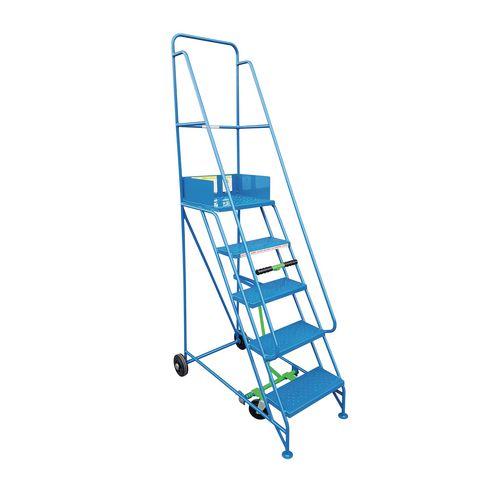 Narrow-Aisle 2 Tread Mobile Step Double Handrail Metal Treads.