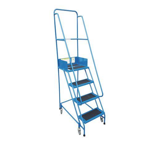 Narrow-Aisle 2 Tread Mobile Step Double Handrail Pvc Treads.