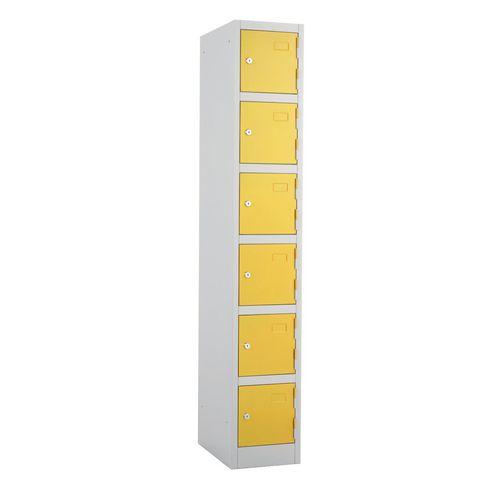 Metal Locker 1800x300x450 6 Door Yellow Door Key Lock