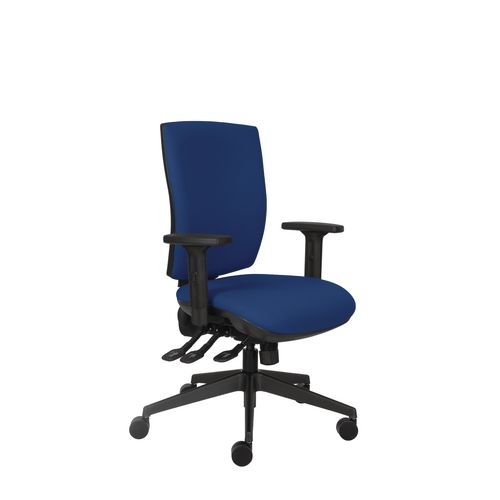Activ 24 Hour Square Back Chair With 3 Lever Mechanism Deep Blue Ratchet Back Height Adjustment Seat Slide Height