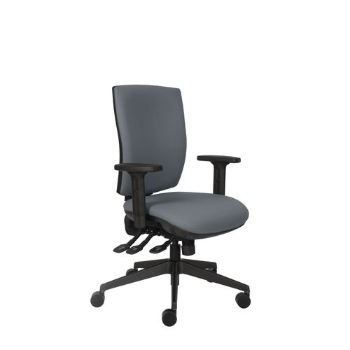 Activ 24 Hour Square Back Chair With 3 Lever Mechanism Charcoal Ratchet Back Height Adjustment Seat Slide Height