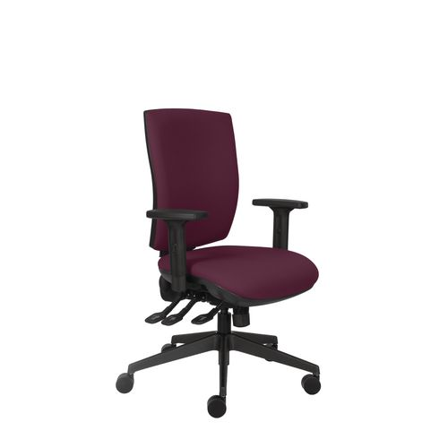 Activ 24 Hour Square Back Chair With 3 Lever Mechanism Burgundy Ratchet Back Height Adjustment Seat Slide Height