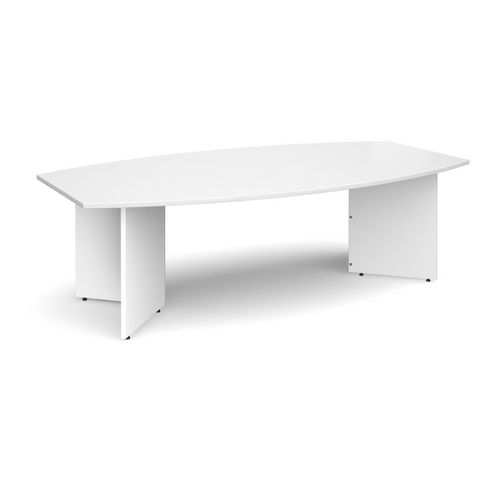 Boat Shaped Arrow Leg Boardroom Table HxWxD 725x2400x800-1300mm White