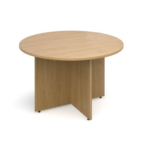 Arrow Head Leg Circular Meeting Table 1200mm Oak