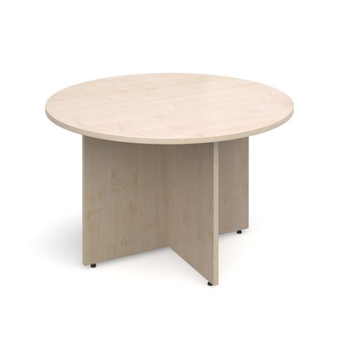 Arrow Head Leg Circular Meeting Table 1200mm Maple