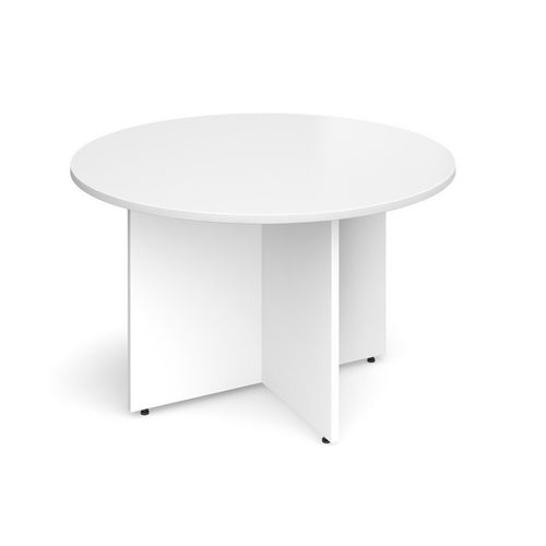 Arrow Head Leg Circular Meeting Table 1200mm White