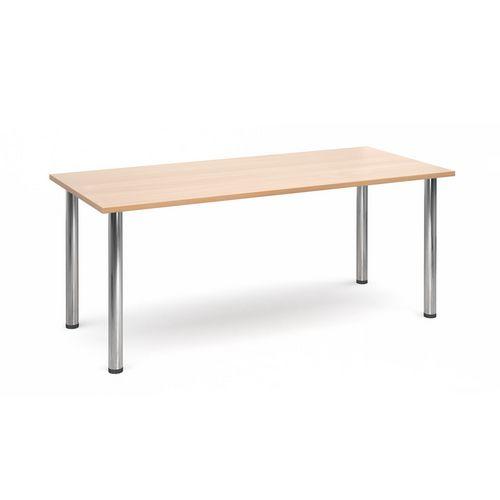Rectangular Chrome Leg Flexi-Table Beech H:725 W:1800 D:800