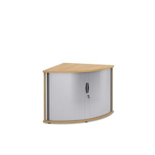 Deluxe Corner Storage Tambour Unit In Oak