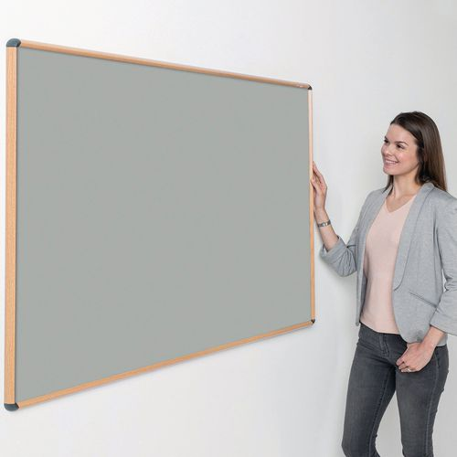 Shield Design Oak Wood Effect Frame Noticeboard 600x900 Light Grey