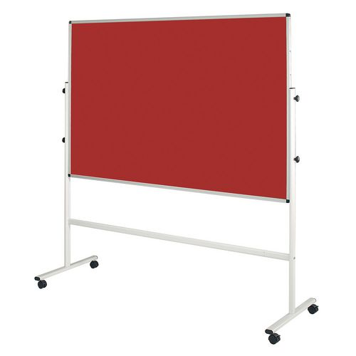 Double Sided Red Mobile Noticeboard 2030mm High Board Dims HxW: 1200x1200mm