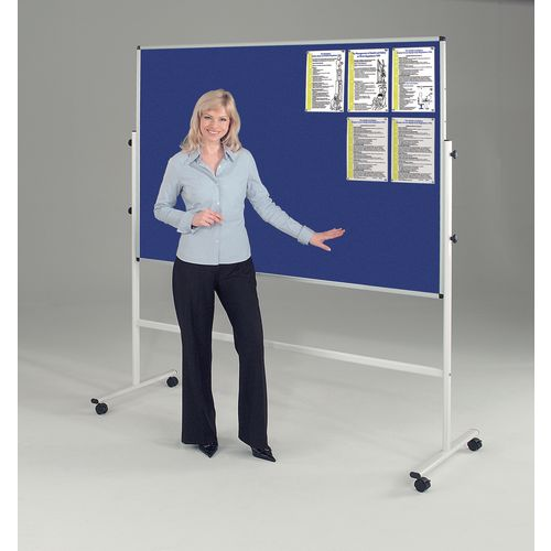 Double Sided Blue Mobile Noticeboard 2130mm High Board Dims HxW: 1500x1200mm