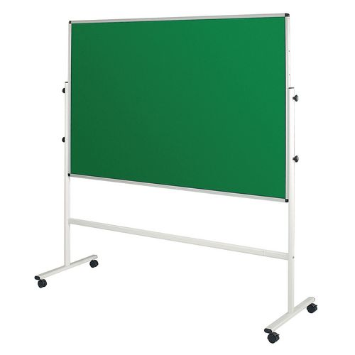 Double Sided Green Mobile Noticeboard 2130mm High Board Dims HxW: 1500x1200mm