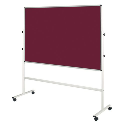Double Sided Burgundy Mobile Noticeboard 2130mm High Board Dims HxW: 1500x1200mm