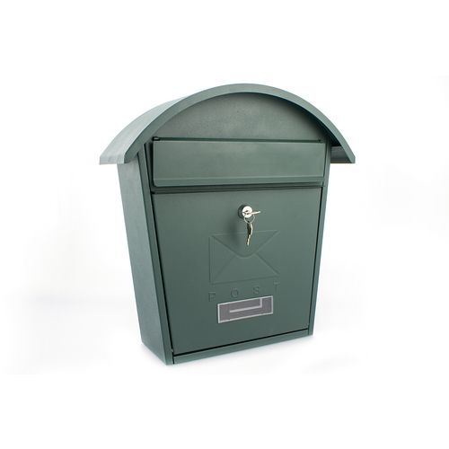 Post Box With Name Plate Window Outward Opening Letter Flap. W364xH380xD134mm. Slot 21 Green