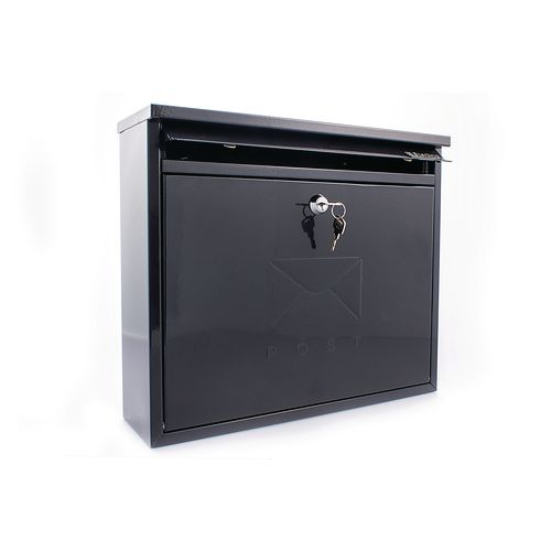 Post Box Outward Opening Letter Flap For Improved Weather Protection. Suitable For Grouping Or Banked. W362 Black