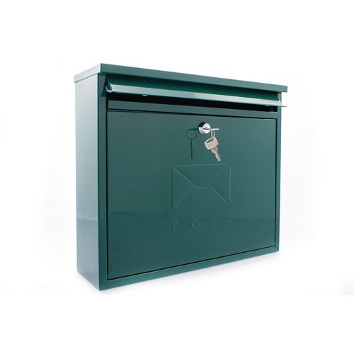 Post Box Outward Opening Letter Flap For Improved Weather Protection. Suitable For Grouping Or Banked. W362 Green