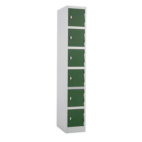 Metal Locker 1800x300x300 6 Door Green Door Swivel Catch