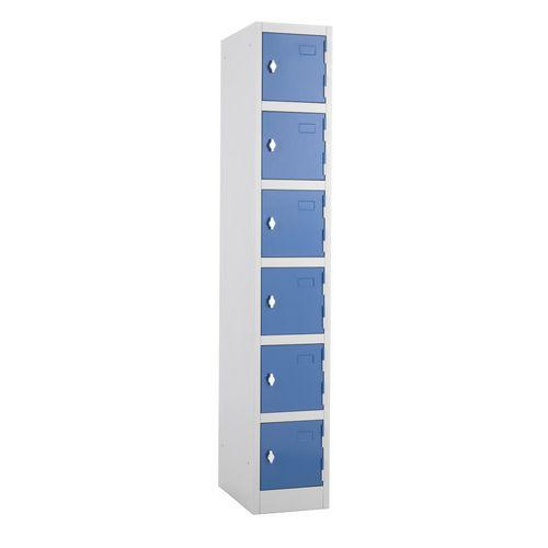 Metal Locker 1800x300x450 6 Door Blue Door Swivel Catch