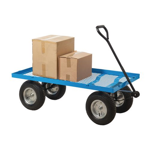 Heavy Duty Purpose Truck With Mesh Base And Pneumatic Tyred Wheels