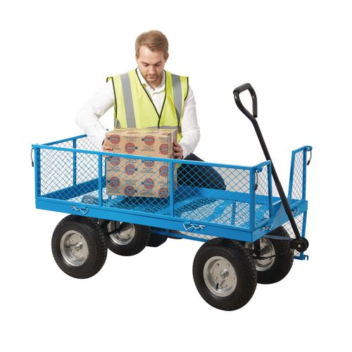Heavy Duty Purpose Truck With Mesh Base Sides &Ends And Pneumatic Tyred Wheels