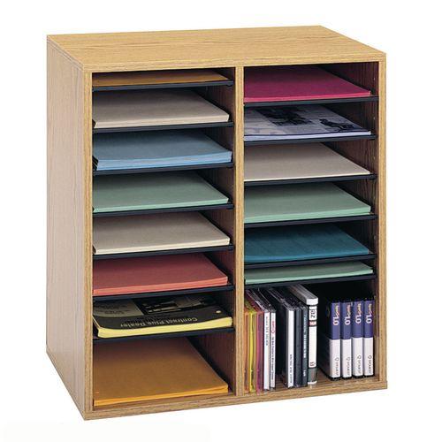 Wood Adjustable Literature Organiser 16 Compartment Medium Oak (Mo)