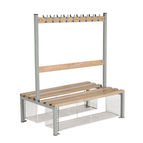 Double Sided Island Seating 1200 mm Length 18 Hooks Beech Wood Slats Mesh Shoe Tray Grey Frame