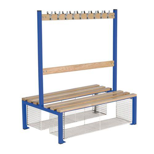 Double Sided Island Seating 1200 mm Length 18 Hooks Beech Wood Slats Mesh Shoe Tray Dark Blue Frame