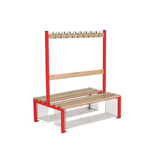 Double Sided Island Seating 1200 mm Length 18 Hooks Beech Wood Slats Mesh Shoe Tray Red Frame