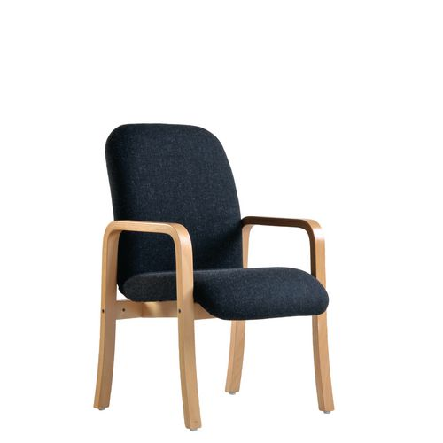 Yealm Modular Wooden Frame Reception Chair In Charcaol Double Arms