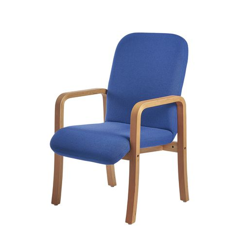 Yealm Modular Wooden Frame Reception Chair In Blue Double Arms