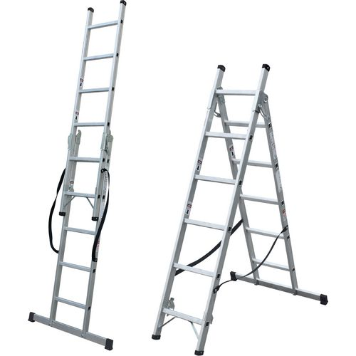 2 Section Aluminium Combination Ladder 2X11 Treads En131 150Kg