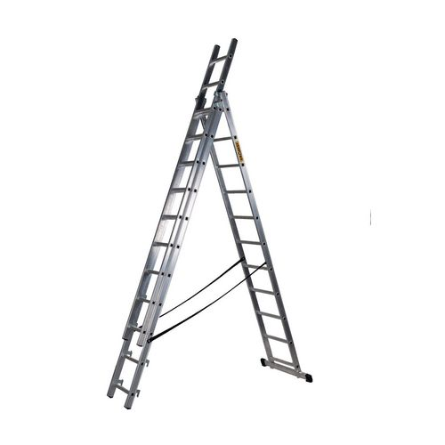 3 Section Aluminium Combination Ladder 3X11 Treads En131 150Kg