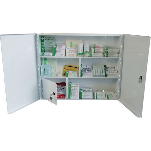 First Aid Metal Cabinet Double Door Single Depth