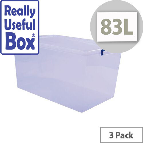 Really Useful Box Nestable Storage Box 83L Transparent Pack Of 3