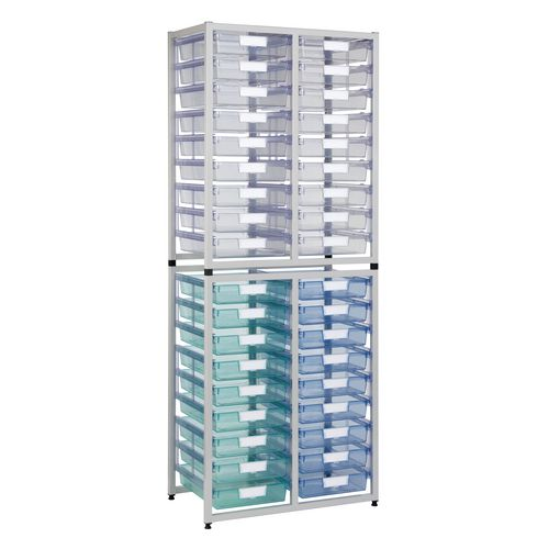 Tray Unit White Frame  36 Tray Static A4 Tinted Blue H1910xW750xD455mm