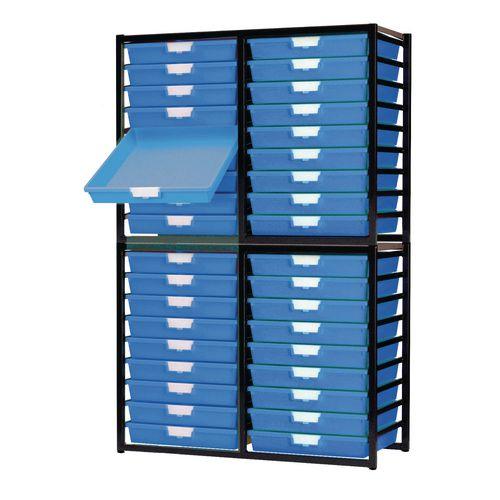 Tray Unit Dark Grey Frame  36 Shallow Trays Static A3 Blue H1910xW1035xD455mm