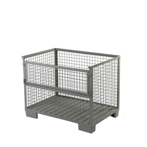 Heavy Duty Cage Pallet With Half-Drop Gate. Corrugated Steel Base. Grey Epoxy Powder Paint Fin
