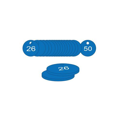 27mm Dia. Traffolite Tags Blue (26 To 50)